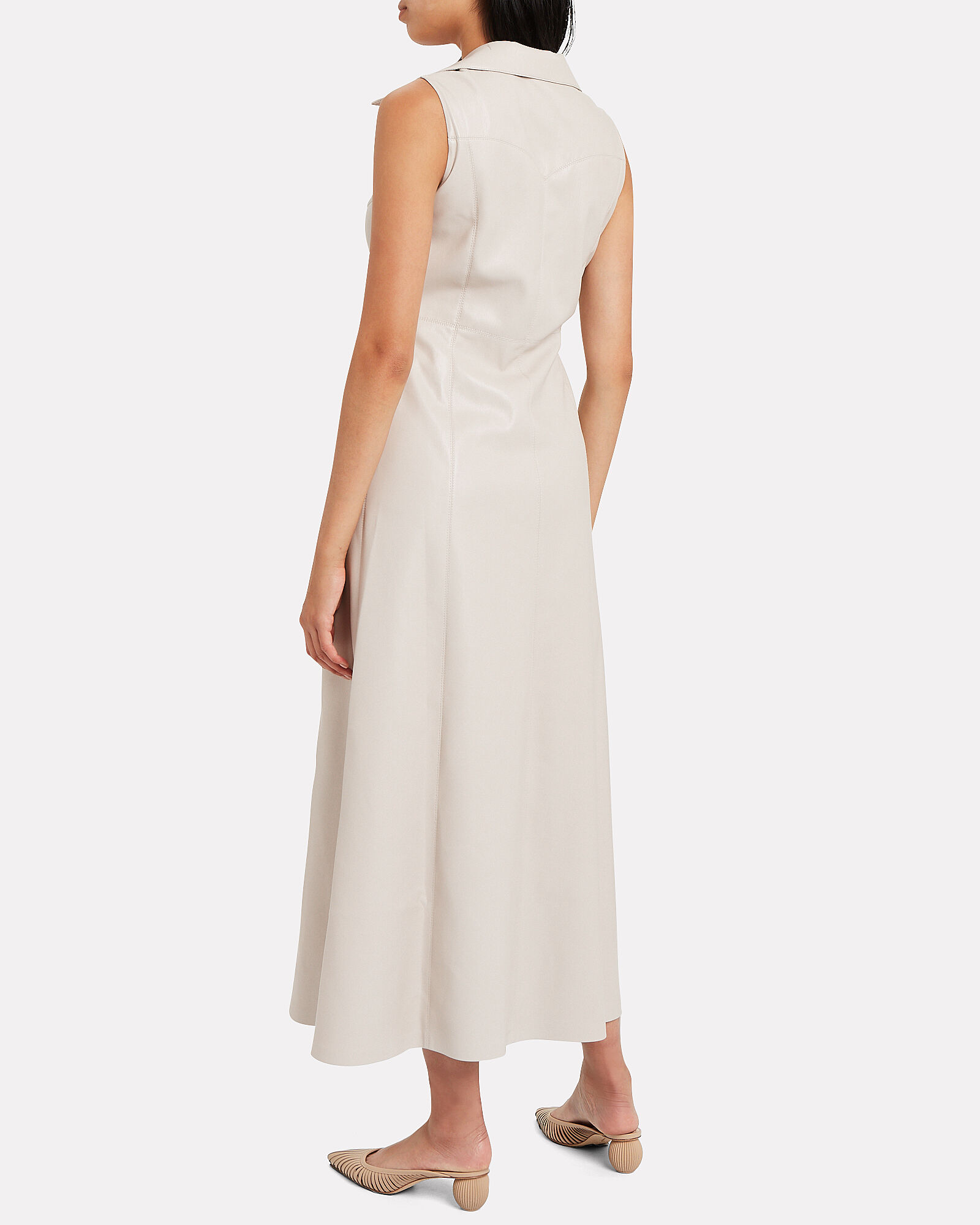 Sharma Tie Front Vegan Leather Dress, IVORY, hi-res
