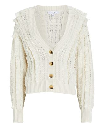 Rowen Fringed Cotton-Blend Cardigan, IVORY, hi-res