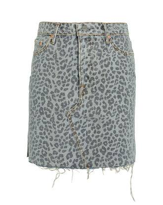 Blaire Leopard Print Denim Mini Skirt, GREY LEOPARD PRINT DENIM, hi-res