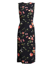 Floral-Printed Crepe Sheath Dress, BLACK/FLORAL, hi-res