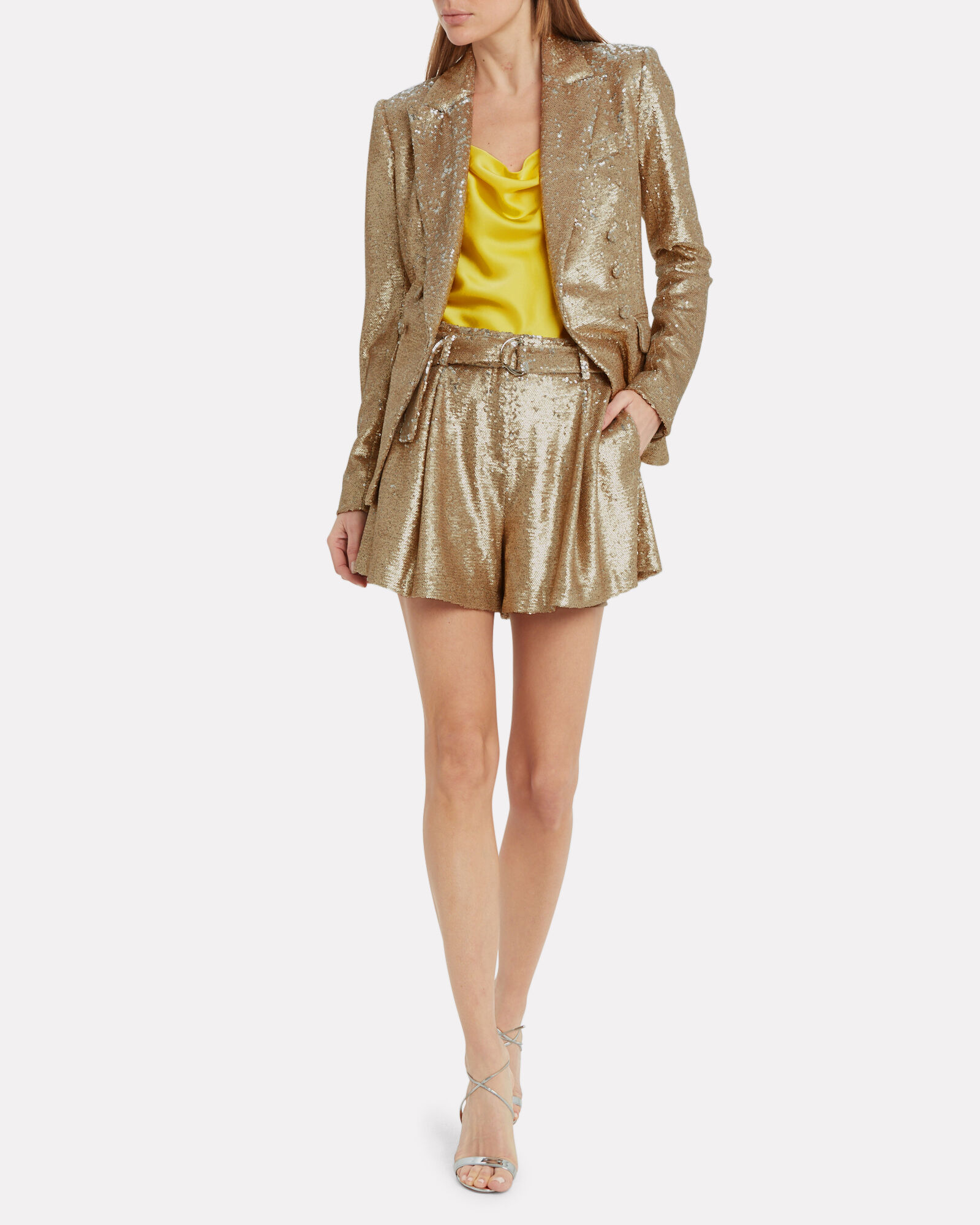 Double Breasted Sequin Blazer, GOLD, hi-res