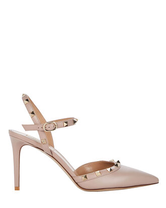 Rockstud Leather Pump, BEIGE, hi-res