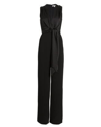 Satin Combo Wide Leg Jumpsuit, BLACK, hi-res