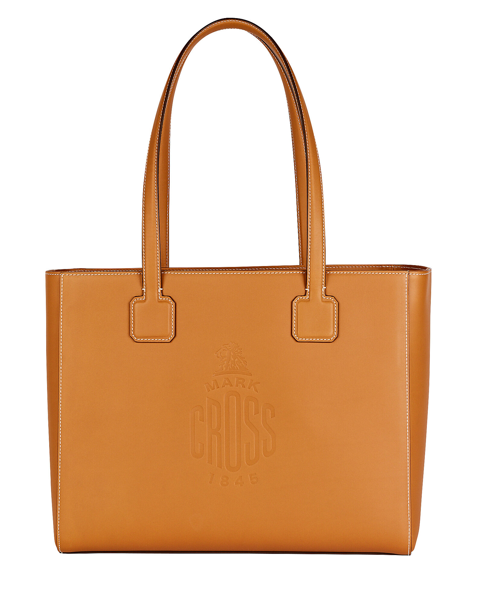 Cannes Logo Leather Tote Bag, BROWN, hi-res