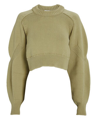 Cropped Open Back Sweater, GREEN, hi-res