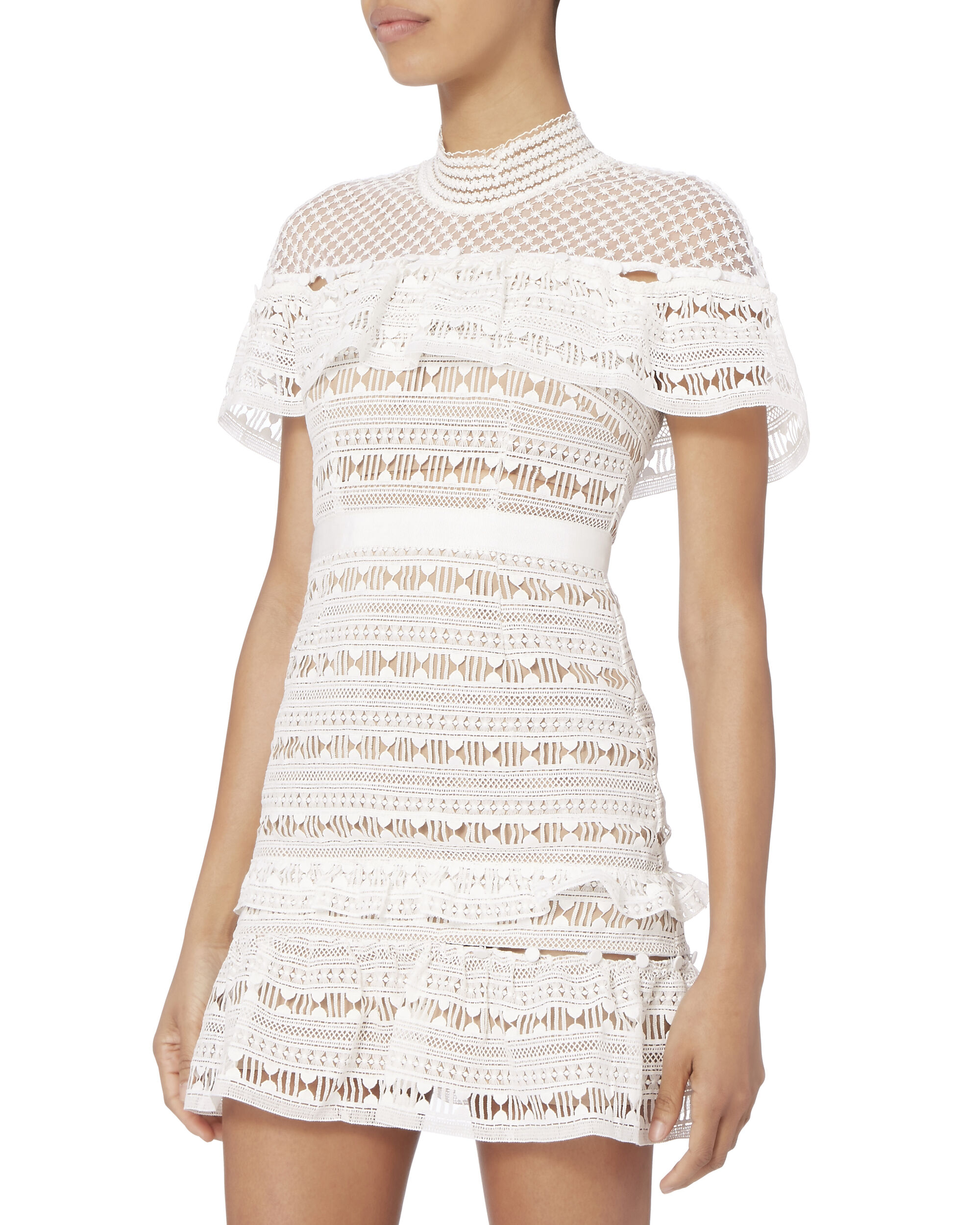 White Lace Ruffled Yoke Mini Dress, WHITE, hi-res
