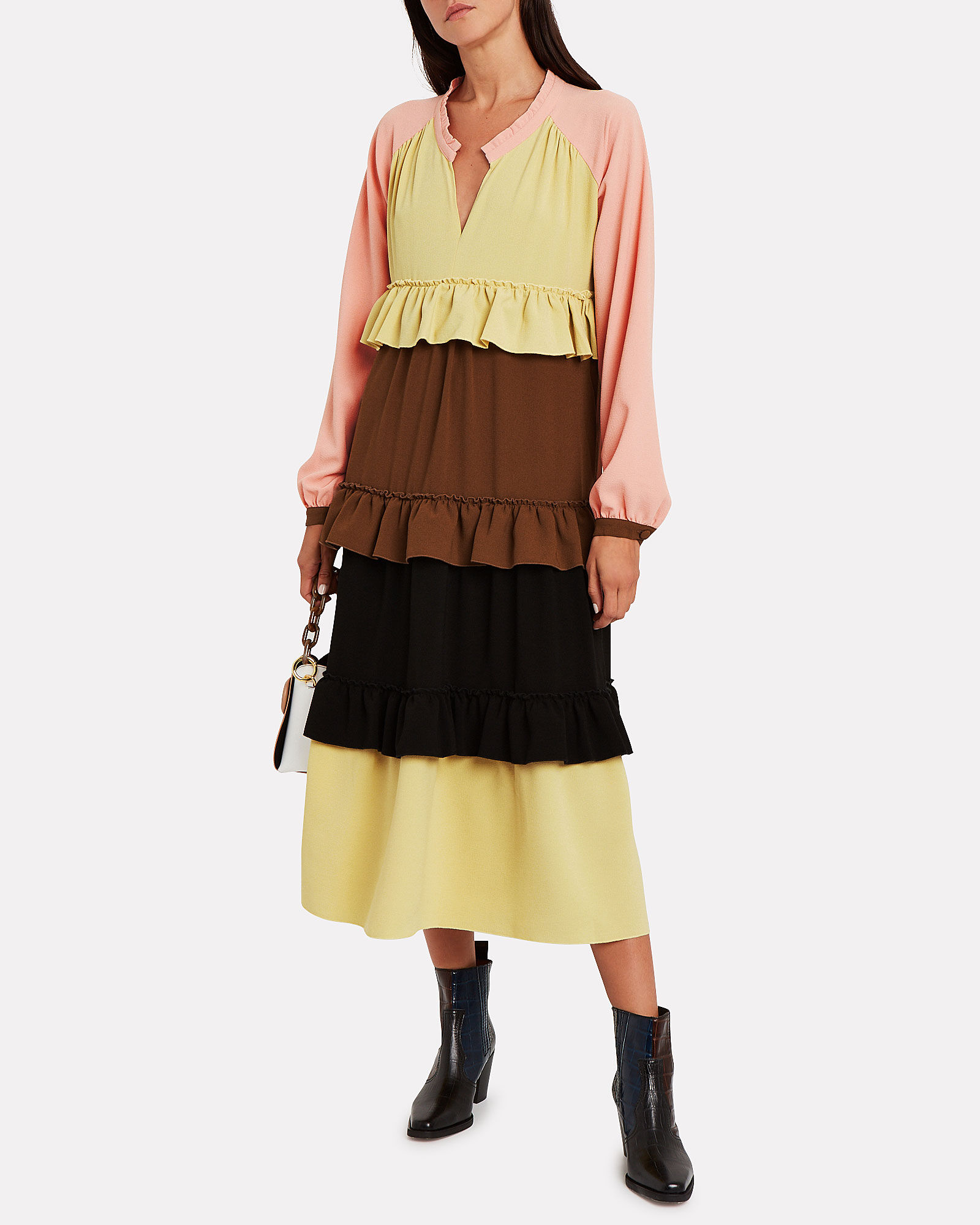Jeanne Tiered Colorblocked Dress, PINK/YELLOW/BROWN, hi-res
