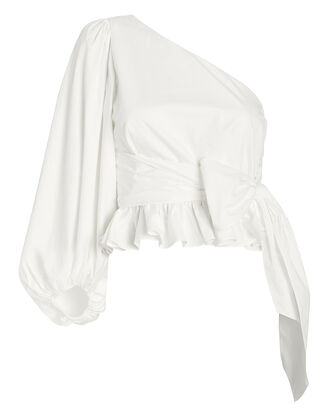 Drake One Shoulder Poplin Blouse, WHITE, hi-res