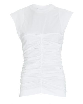Ruched Sleeveless Cotton T-Shirt, WHITE, hi-res