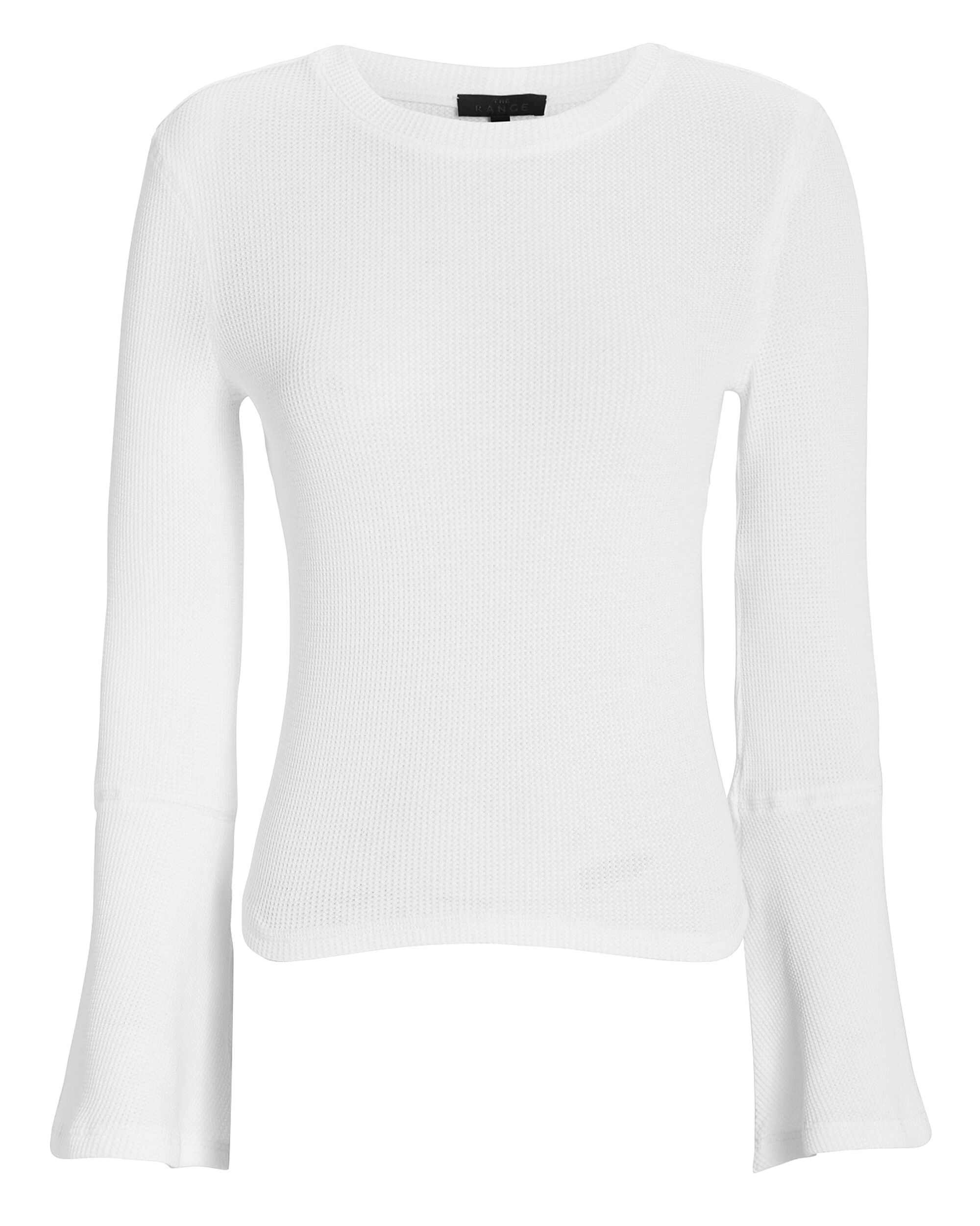 Flare Sleeve Knit Sweater, WHITE, hi-res