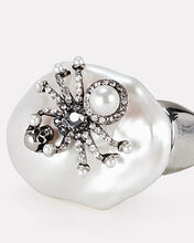 Spider Pearl Ring, WHITE, hi-res
