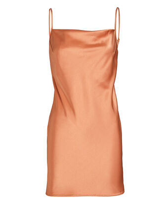 Lotti Satin Mini Slip Dress, PALE ORANGE, hi-res