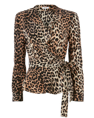 Fayette Animal Print Wrap Top, PRINT, hi-res