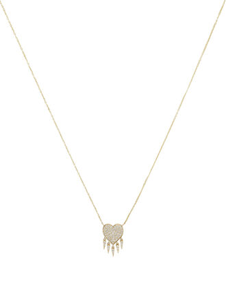 Diamond Heart Fringe Necklace, GOLD, hi-res