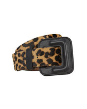Maeva Leopard Calf Hair Belt, BROWN, hi-res