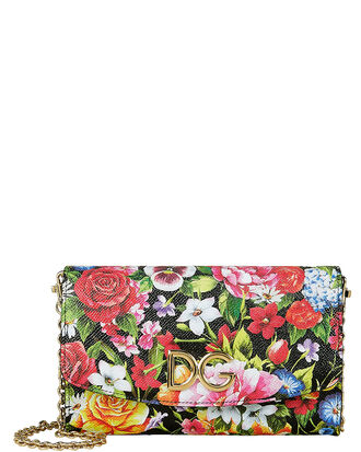Floral Print Leather Crossbody Bag, BLACK FLORAL, hi-res