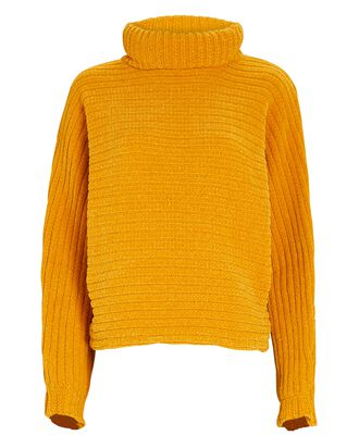 Recycled Velour Turtleneck Sweater, YELLOW, hi-res