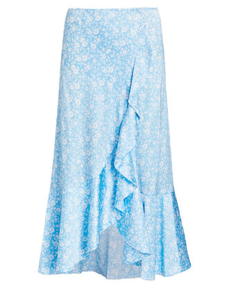 Silk Floral Ruffled Midi Skirt, MULTI, hi-res