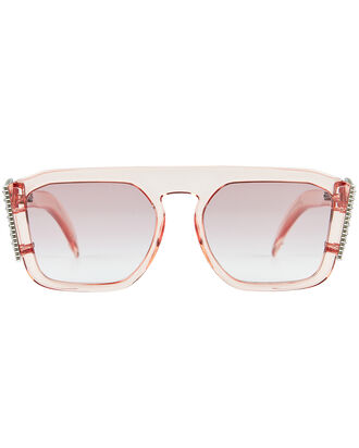 Crystal Logo Square Sunglasses, PALE PINK, hi-res