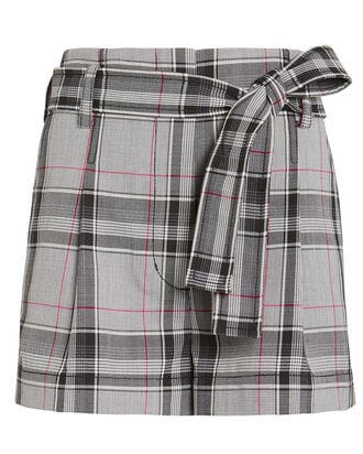 Wool Blend High-Rise Belted Shorts, GREY/PLAID, hi-res
