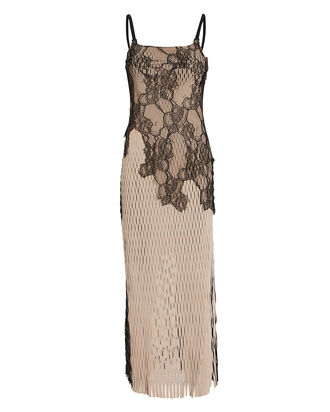 Erosion Lace Sleeveless Dress, BEIGE, hi-res