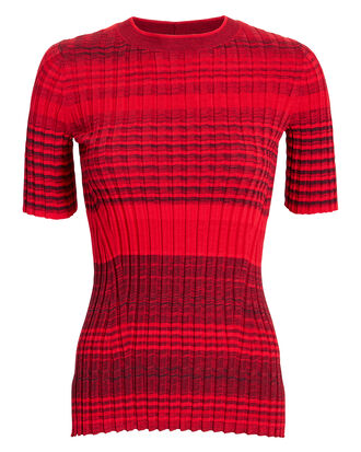 Stripe Knit Top, RED, hi-res