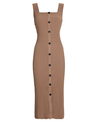 Ribbed Knit Button Midi Dress, BROWN, hi-res