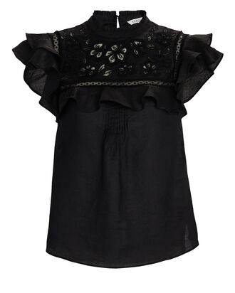 Abdula Ruffled Embroidered Top, BLACK, hi-res