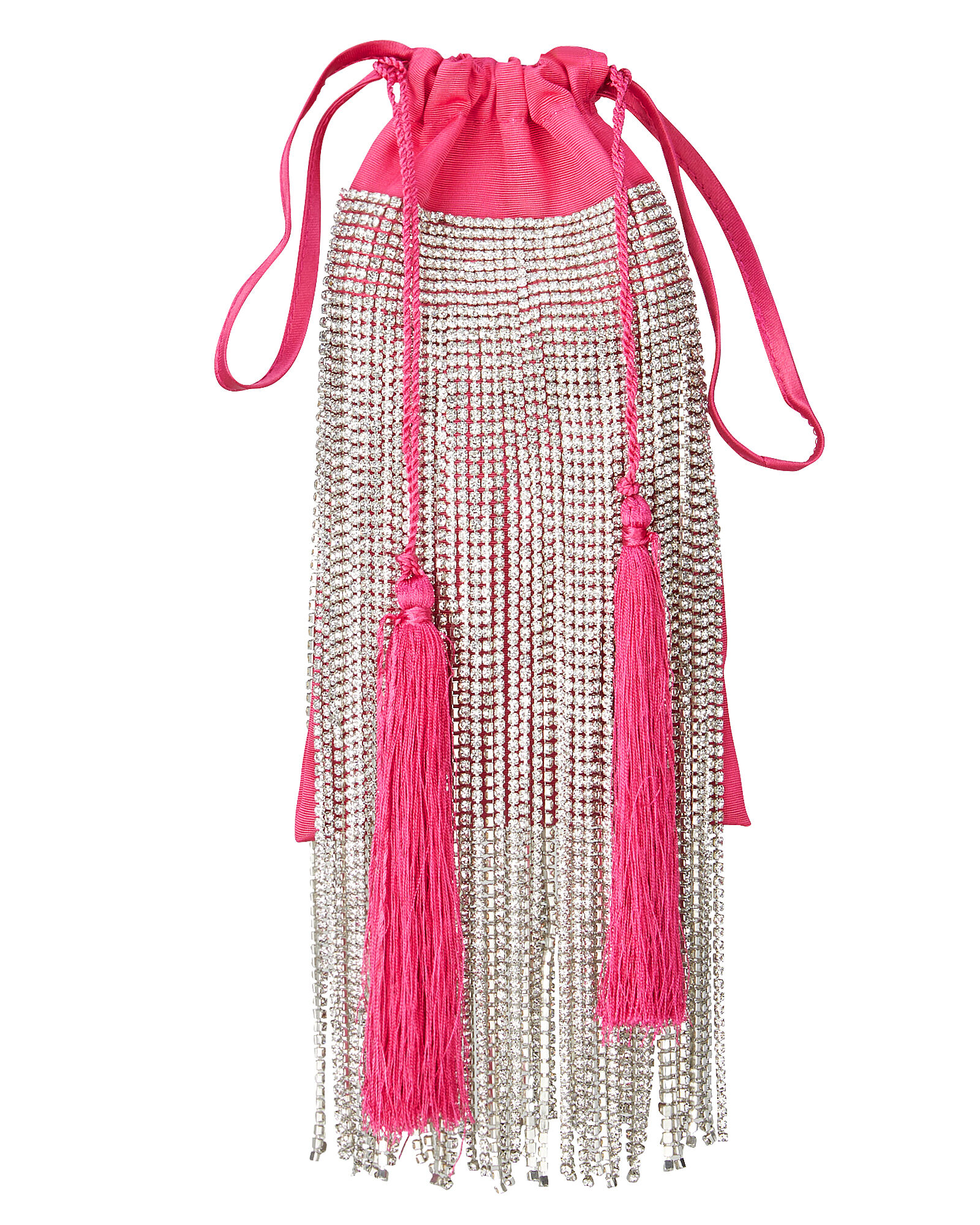 Hot Pink Crystal Fringe Clutch, PINK, hi-res