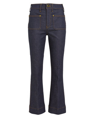 Raquel Cropped Kick Flare Jeans, DARK WASH DENIM, hi-res