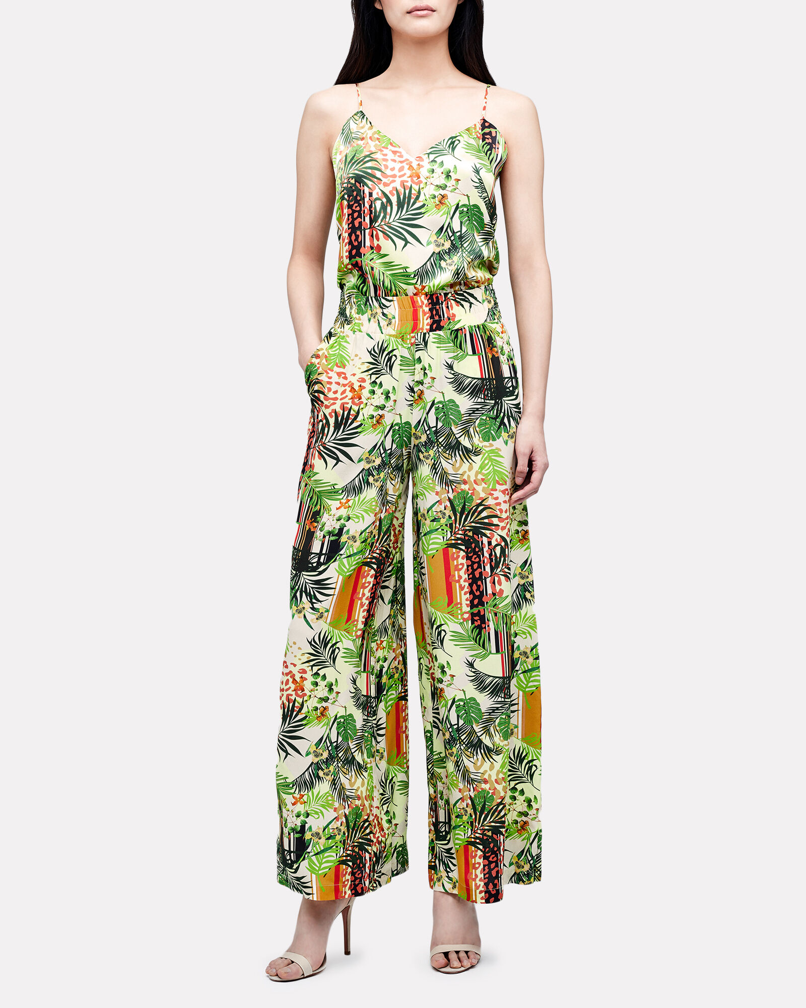 Oaklyn Printed Silk Pants, GREEN/BEIGE, hi-res