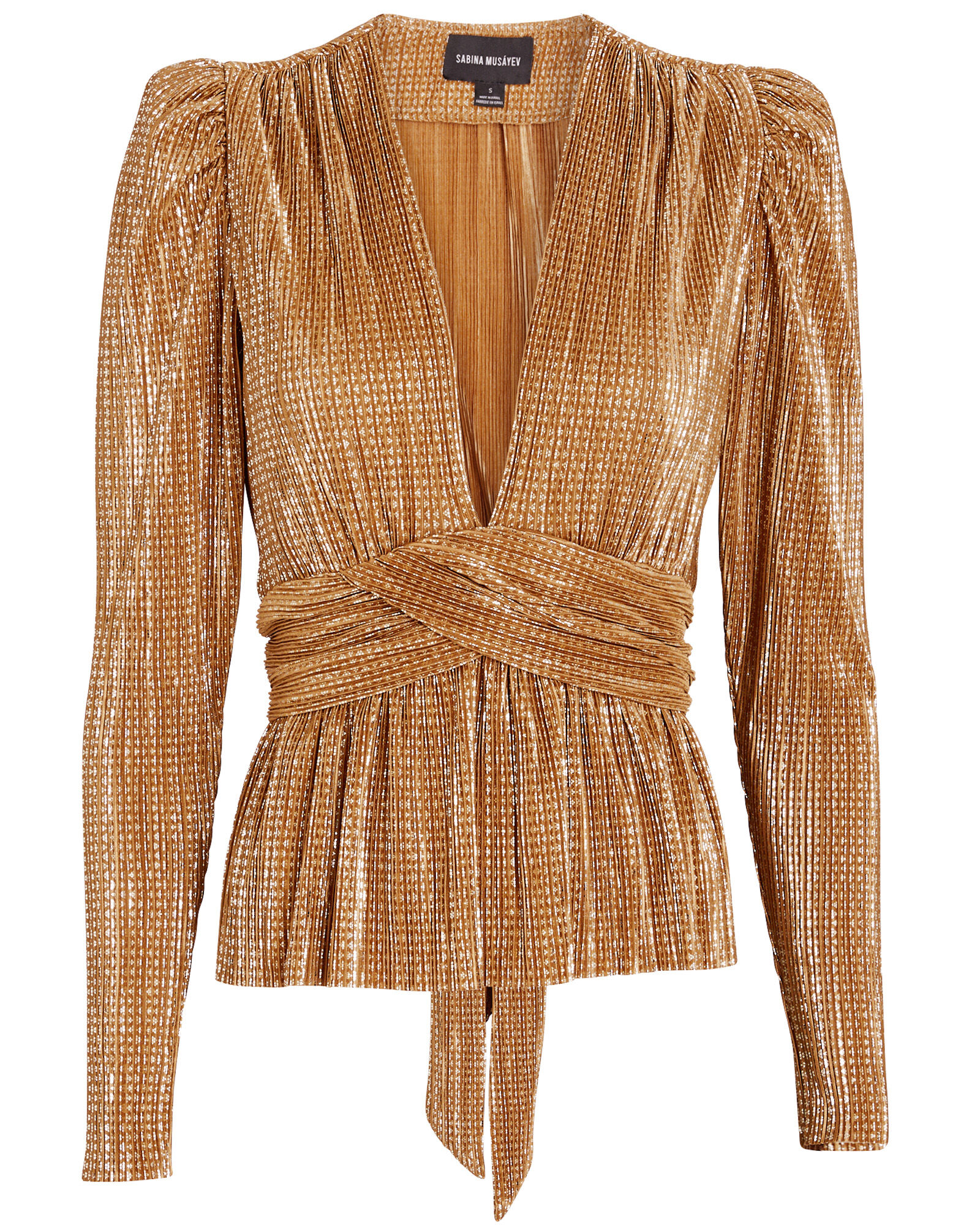Sammy Plissé Lurex Top, GOLD, hi-res