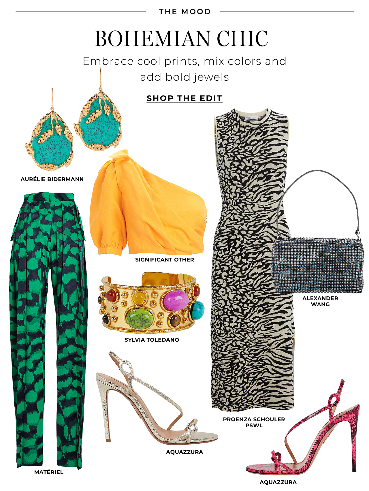 Embrace bohemian chic prints, mix colors and add bold jewels
