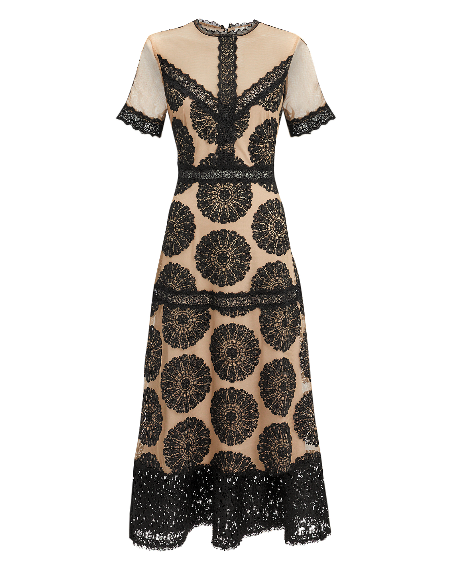 NIGHTCAP CLOTHING Pinwheel Embroidered Lace-Trim Dress in Black