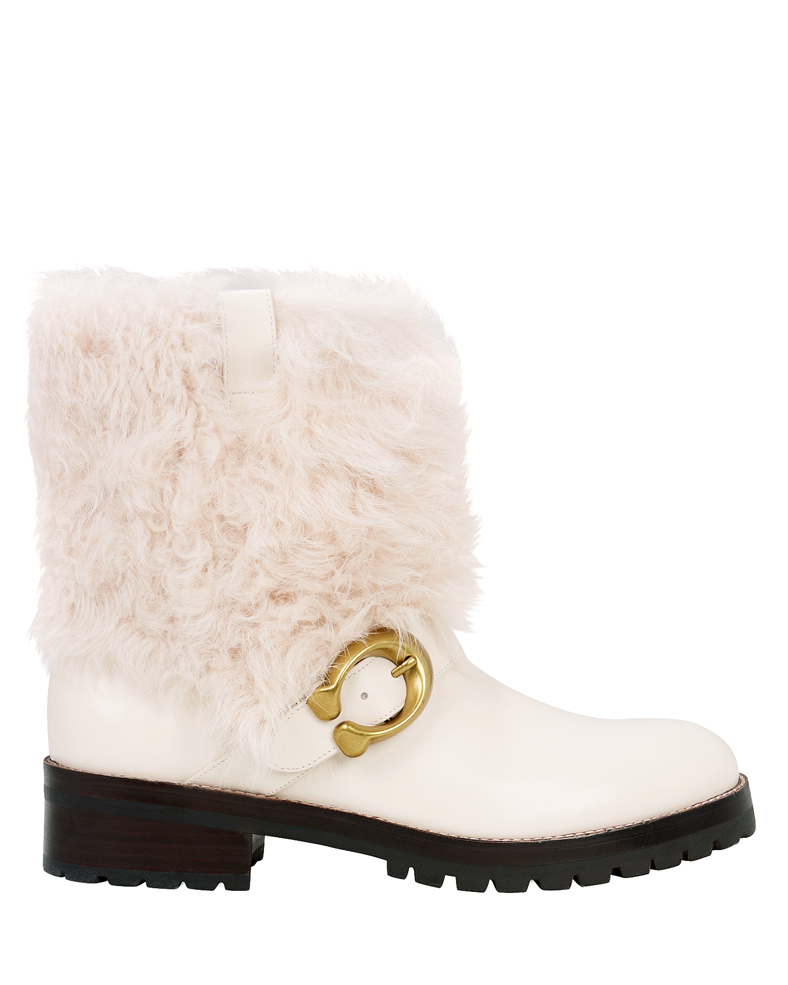 COACH Leighton Shearling-Cuff Leather Buckle Boots in White