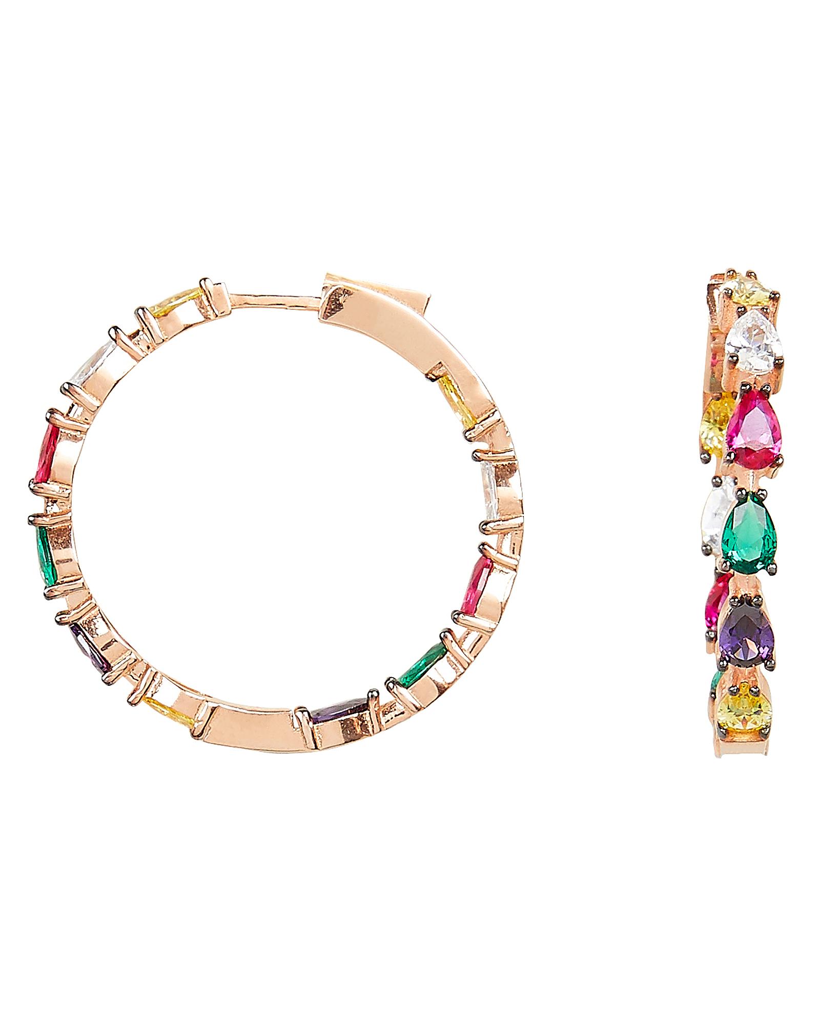 Gil Rainbow Pear Hoops by Nickho Rey