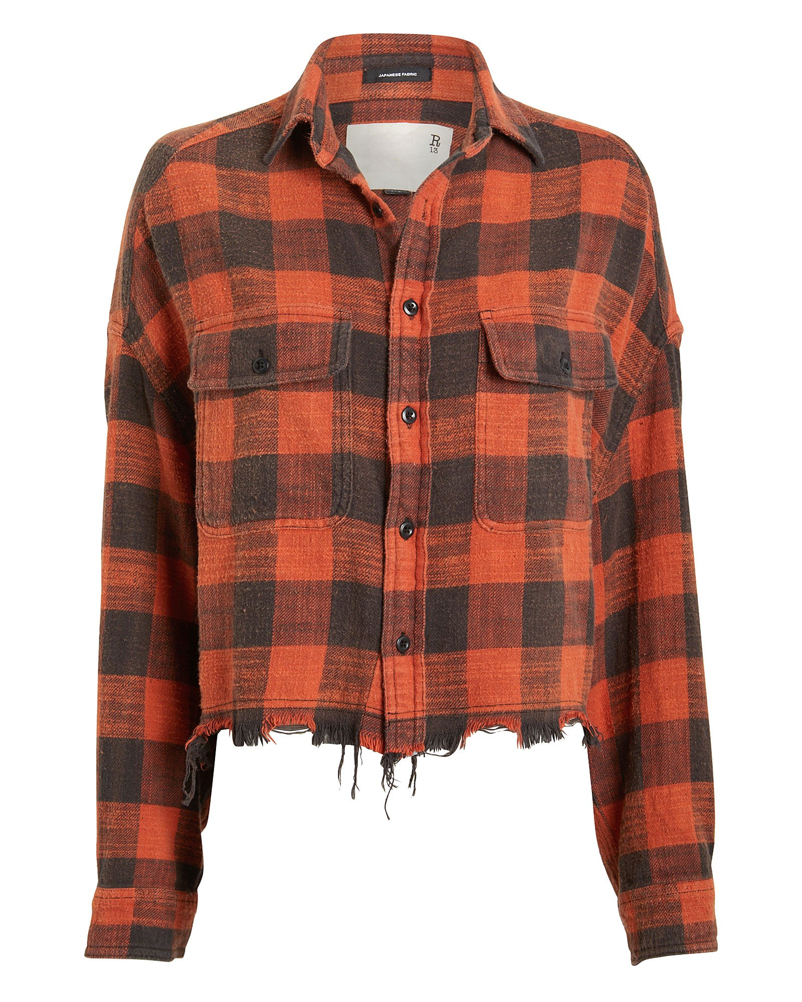Cropped Plaid Work Shirt by R13