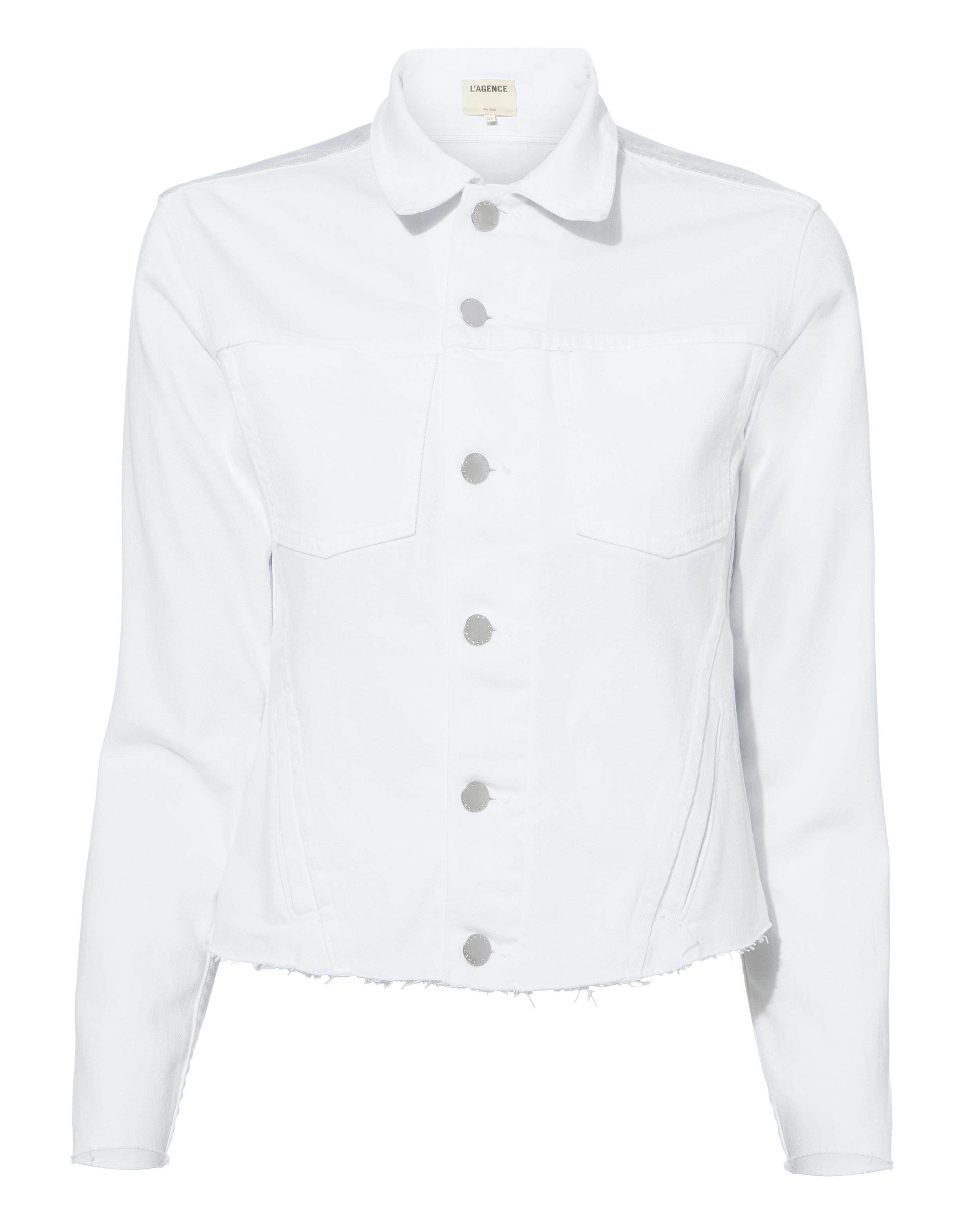 Janelle Cropped White Deni Jacket White