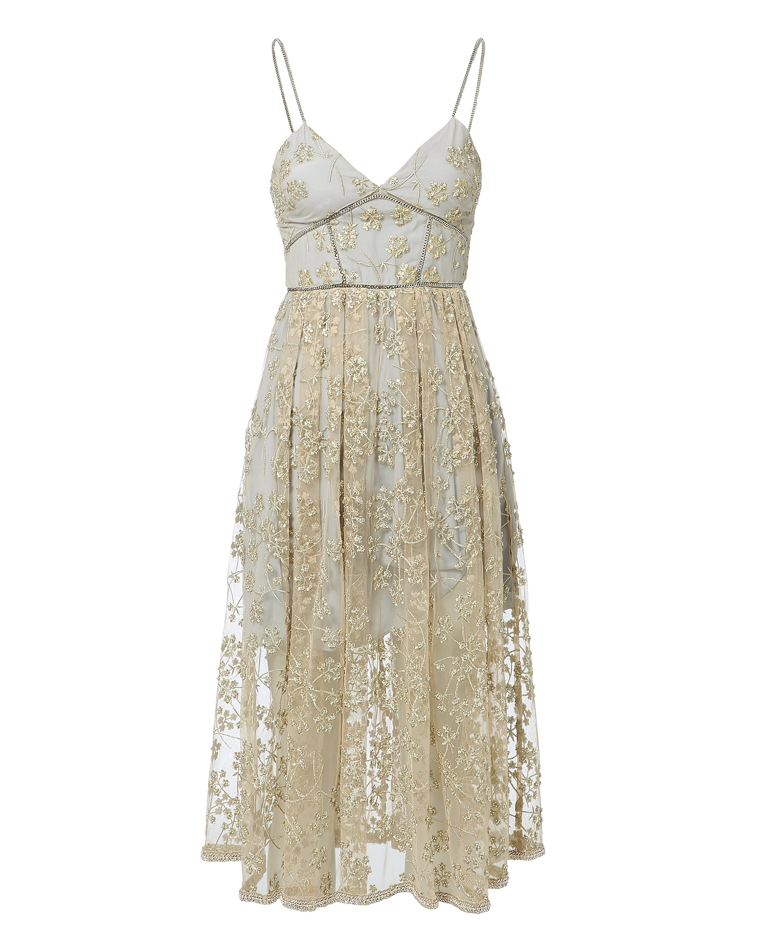 Floral Embroidery Mesh Dress by Self Portrait