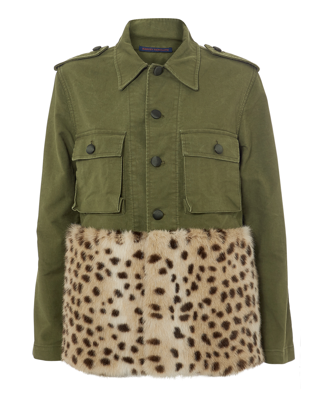 HARVEY FAIRCLOTH LEOPARD FAUX FUR FIELD JACKET OLIVE/ARY