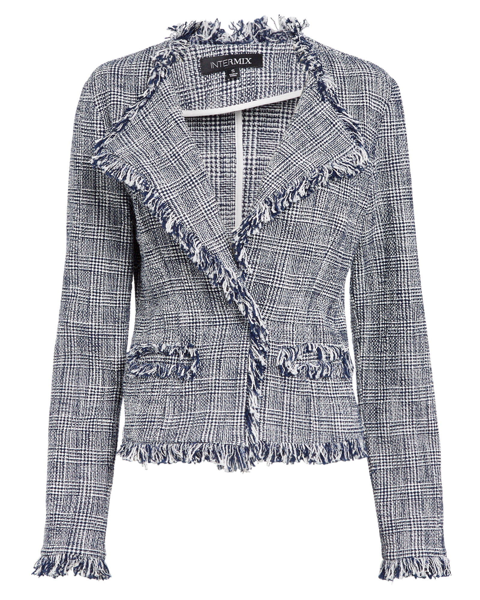 EXCLUSIVE FOR INTERMIX Intermix Verity Knit Jacket Blue/White