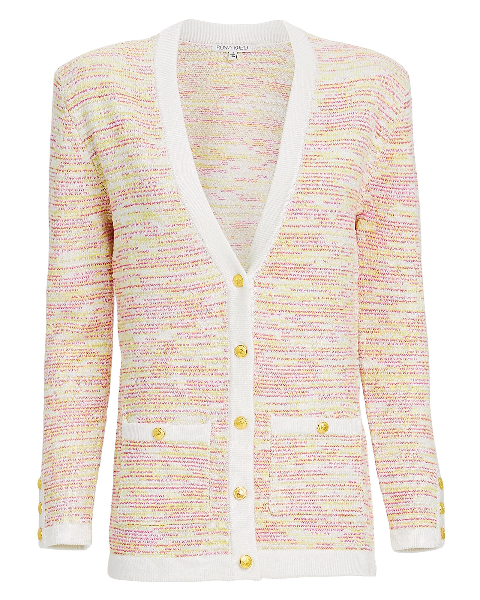 TORN Ronny Kobo Chavri Tweed Cardigan Yellow/White/Tweed