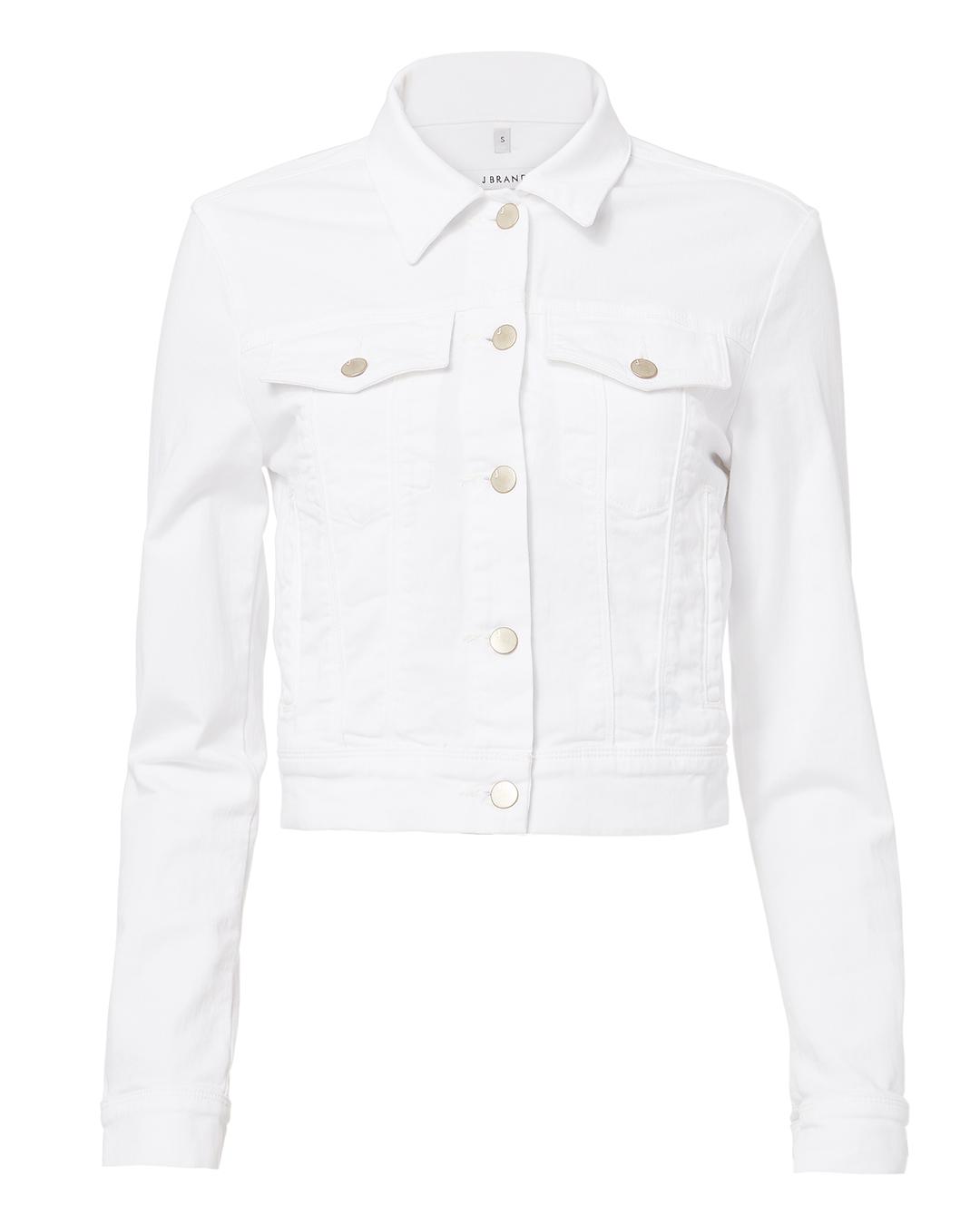 Faye Button-Down Cropped Denim Jacket in White