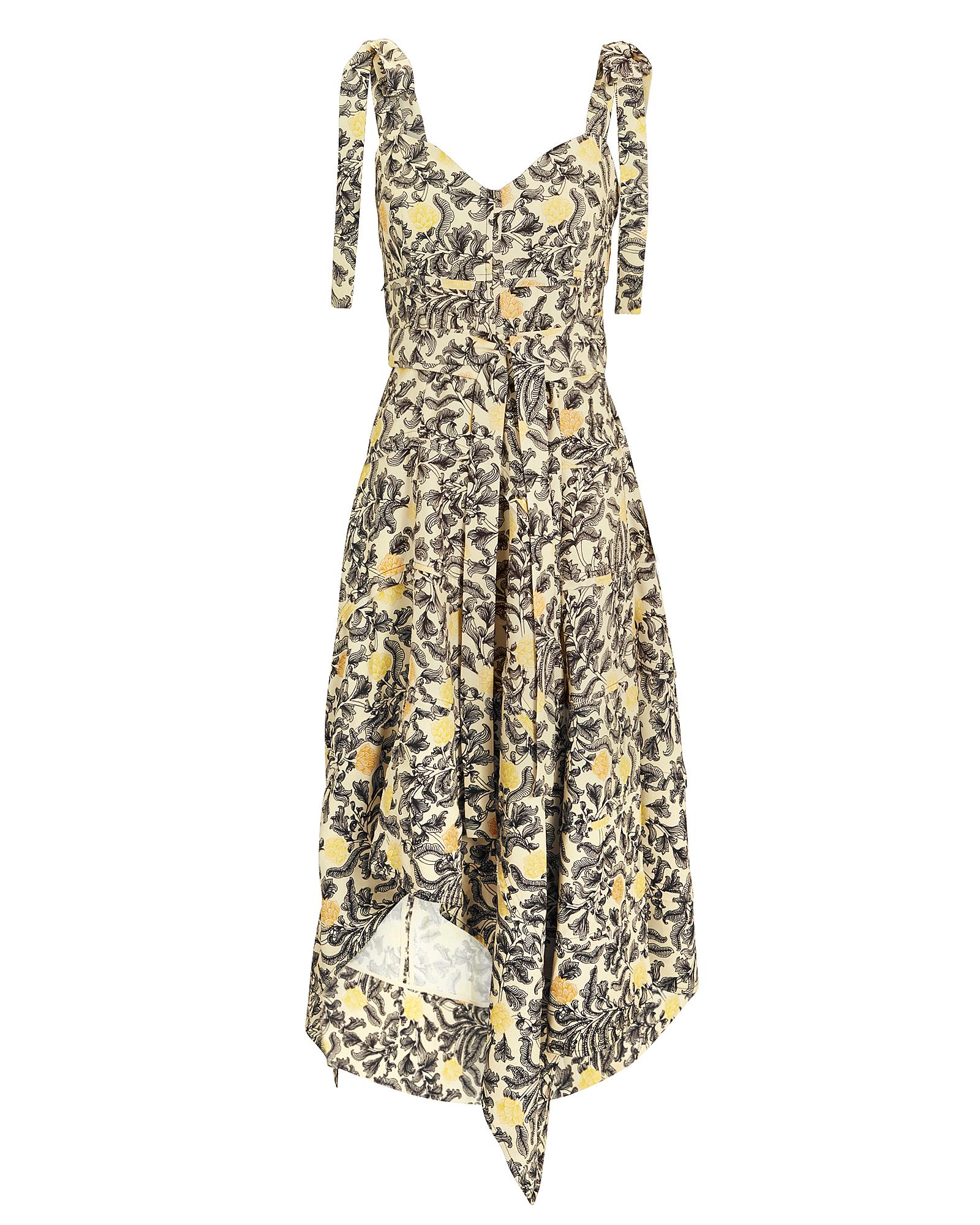 Sweetheart-Neck Tie-Straps Paisley Floral-Print Midi Dress, White/Black