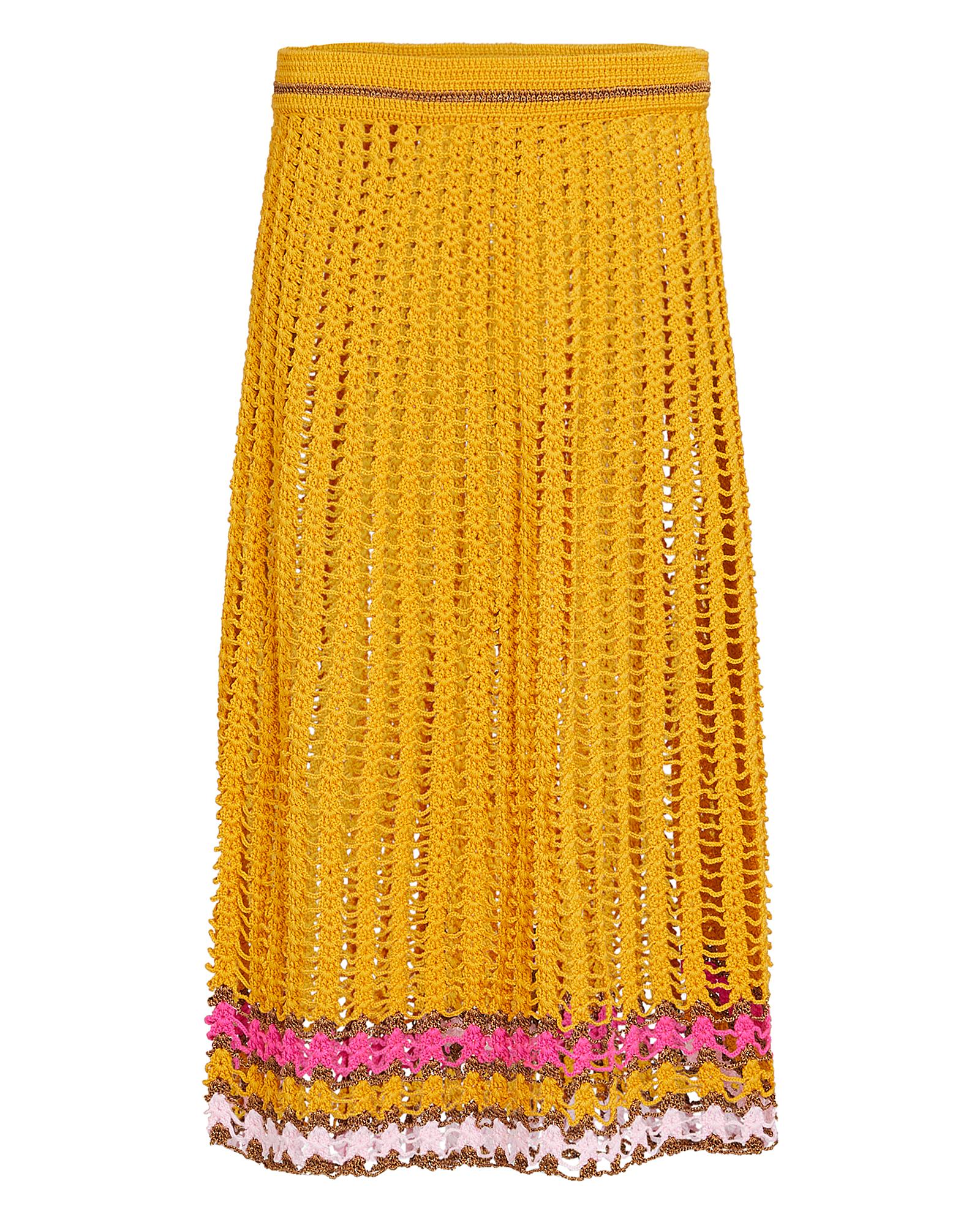 My Beachy Side Crochet Midi Skirt In Mustard