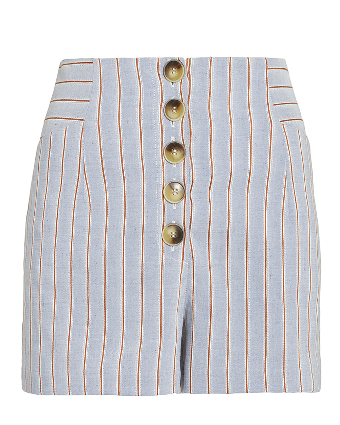 EXCLUSIVE FOR INTERMIX INTERMIX DELANY STRIPED LINEN HIGH WAIST SHORTS BLUE-LT