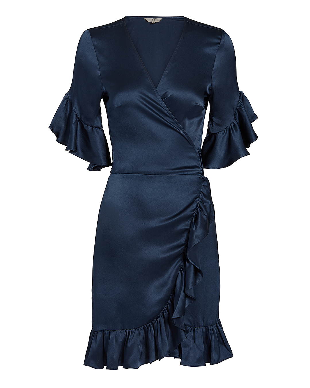 NIGHTCAP CLOTHING Silk Ruffle Wrap Mini Dress