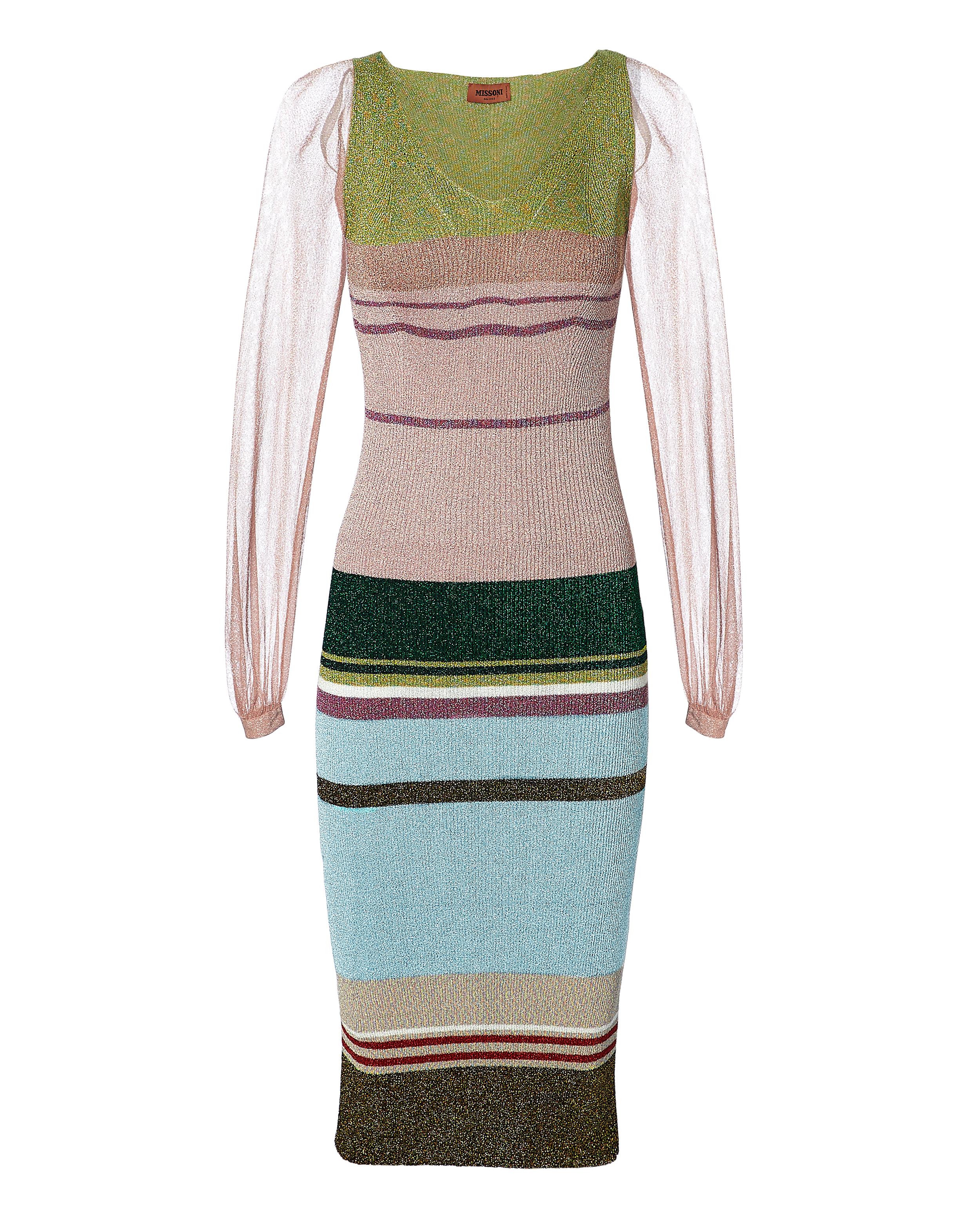 Sheer Sleeve Striped Lurex Dress