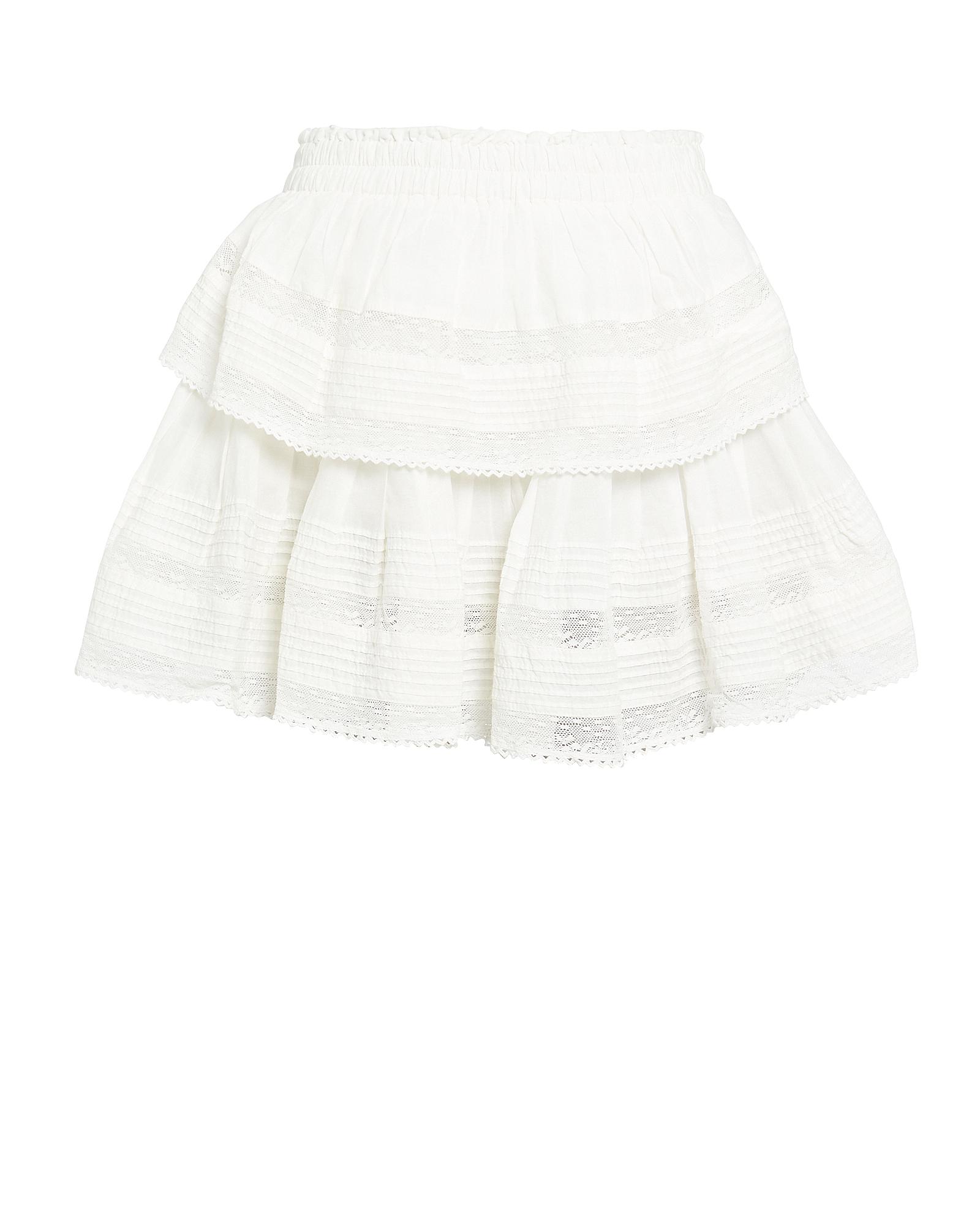 Loveshackfancy Skirts LOVESHACKFANCY RUFFLED LACE-TRIM COTTON SKIRT
