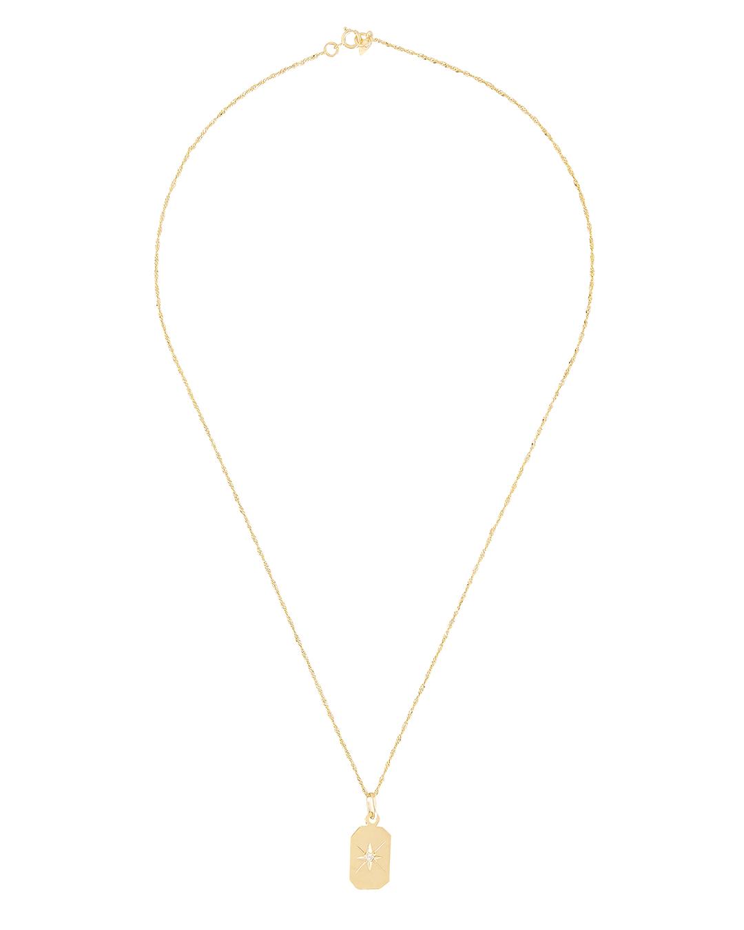 LOREN STEWART Diamond Starburst ID Tag Necklace